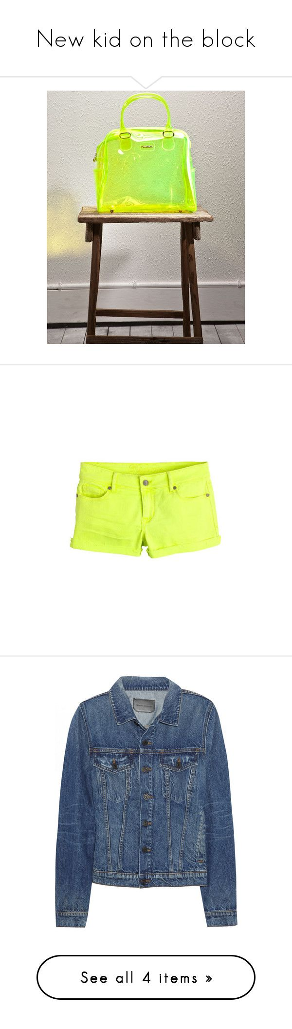"""New kid on the block"" by clairehull ❤ liked on Polyvore featuring shorts, bottoms, pants, yellow, view all shorts, yellow shorts, yellow short shorts, stretch shorts, cuffed shorts and neon shorts"