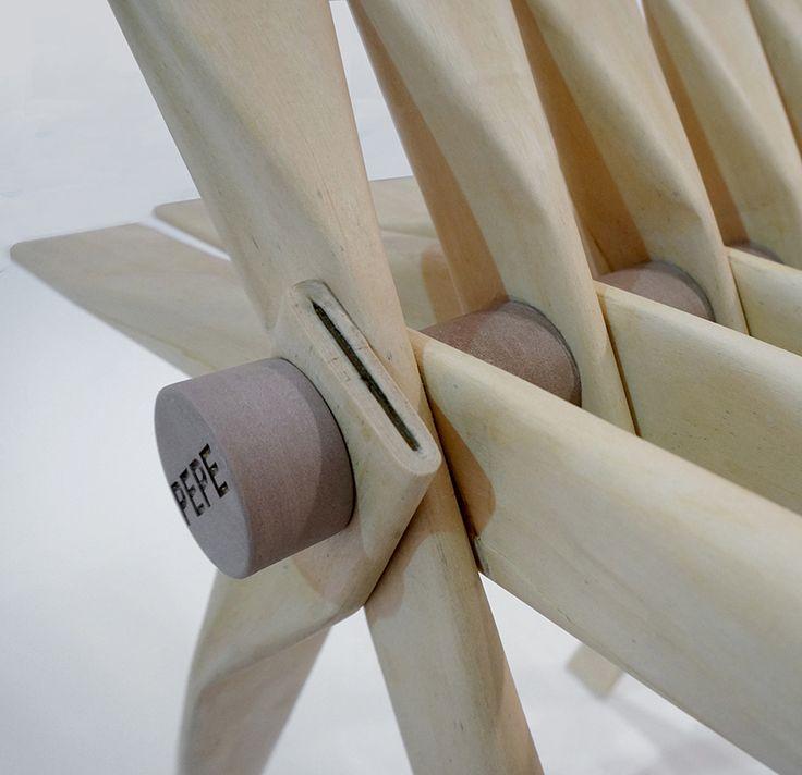Silla PEPE por Helene Steiner, sistema estructural en base a tubos de chapa de madera - Catálogodiseño magazine