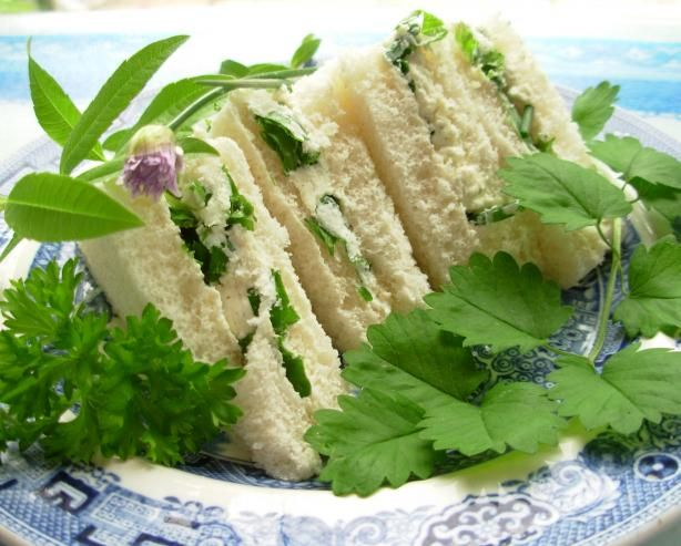 Summer Solstice Sandwiches - Cheese and Tomato with Salad Cream and Herb Garden Tea Sandwiches with Cream Cheese
