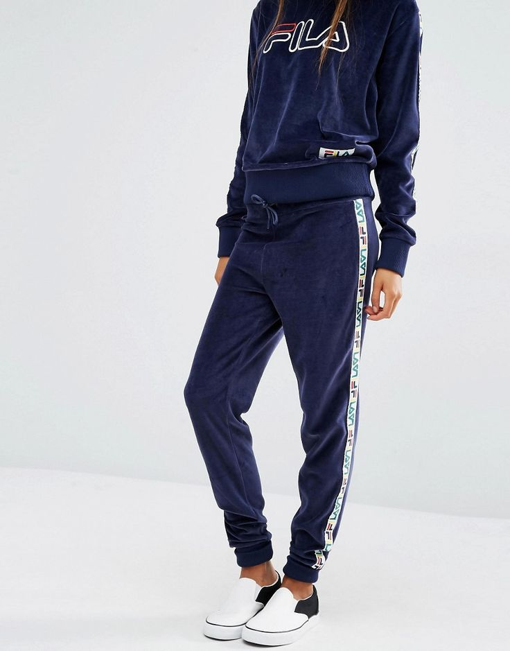 Image 4 of Fila Tracksuit Bottoms With Tape Detail In Velour