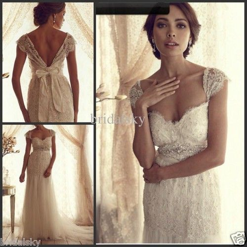 Tulle Lace Bow Sash Sweetheart Column Cap sleeves Court Train Wedding Dresses