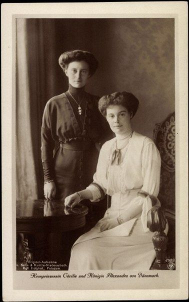 Queen Alexandrine of Denmark and Crown Princess Cecilie of Prussia.