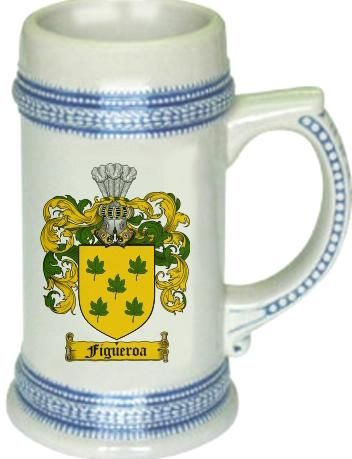 Figueroa Coat of Arms / Family Crest stein mug |  $21.99 at www.4crests.com - This stein starts with the family coat of arms hand drawn digitally. We then use a high quality 22 oz. ceramic stein to apply the coat of arms to via sublimation.