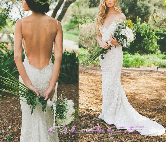 Superb Hot Sexy Backless Very Low Open Back Lace Wedding Dress Bridal Halter Beach Wedding Gown Romantic