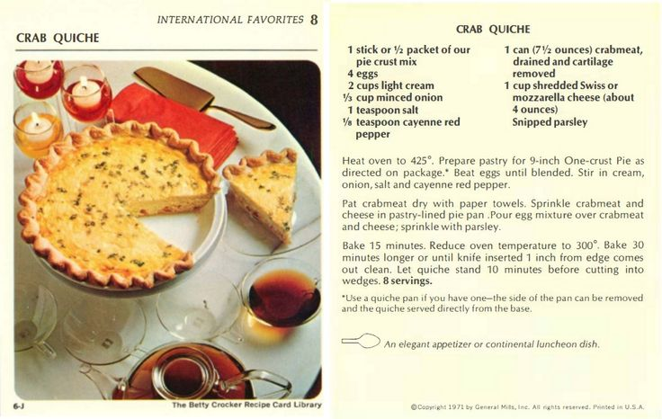 Crab Quiche | Vintage Recipe from The Betty Crocker Recipe Card Library 1971  |  #9(I) International Favorites