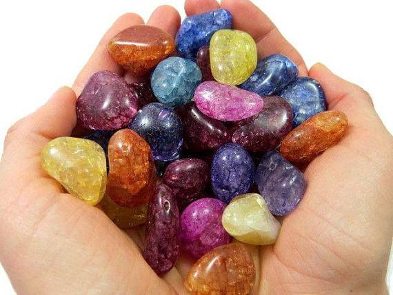 Tumbled Crackle Quartz Tumbled Stone Rainbow Crystal Crackled Quartz Crystals For Kids Stones And Crystals