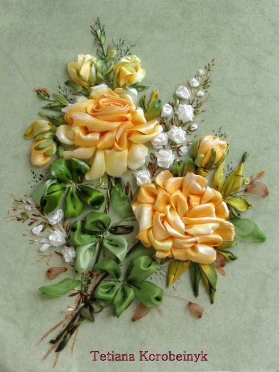*RIBBON ART ~ picture Composition of the roses  .Silk by SilkRibbonembroidery,