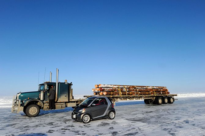Smart Car on the Ice Road.