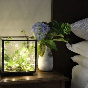Square candle box with firefly lights