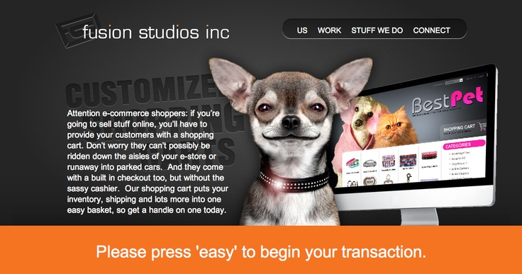 Customized Shopping Carts page, Fusion Studios.
