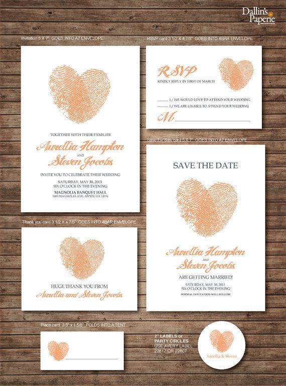 Wedding Invitation printables, Finger print Heart, Customized DIY, Thank you card, Save the date, RSVP, place card, envelope seal on Etsy, $39.06