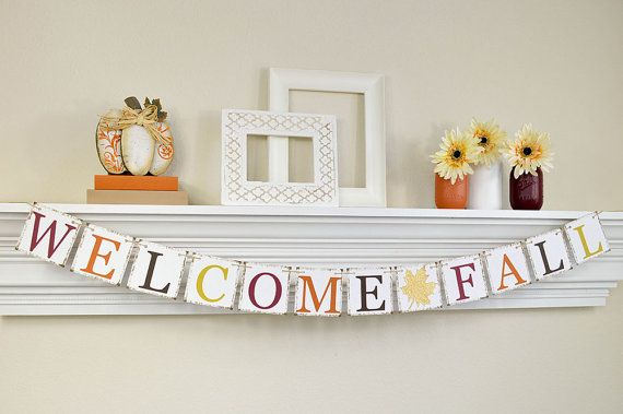 Fall Home Decor, Fall Garland, Fall Banner, Thanksgiving Decor, Fall Bunting, Welcome Fall, Gold Glitter