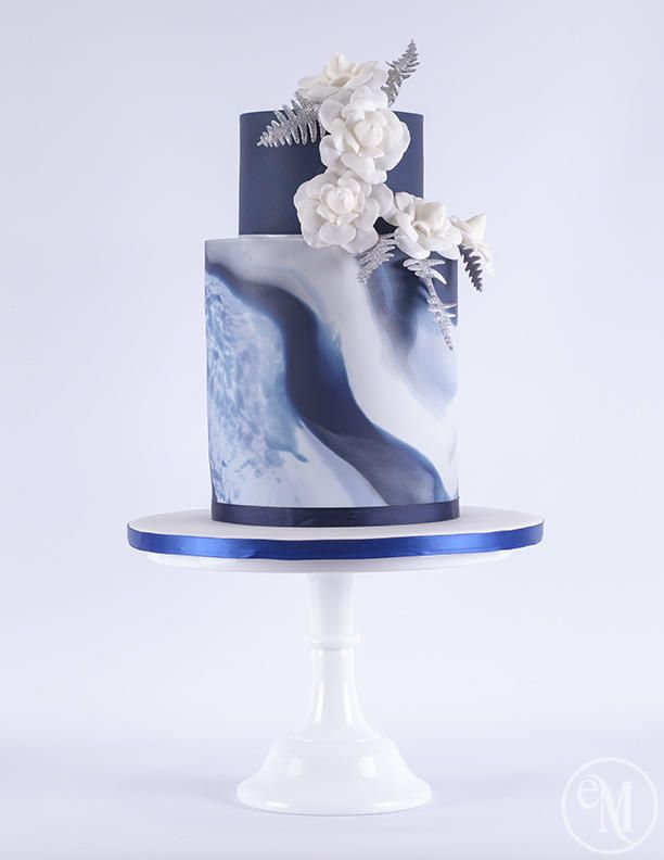 Icy Blue Marble Cake with Chanel inspired camellias - Cake by The Enchanting Merchant Company