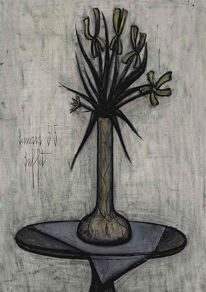 Bernard Buffet (1928-1999) Iris sur un guéridon