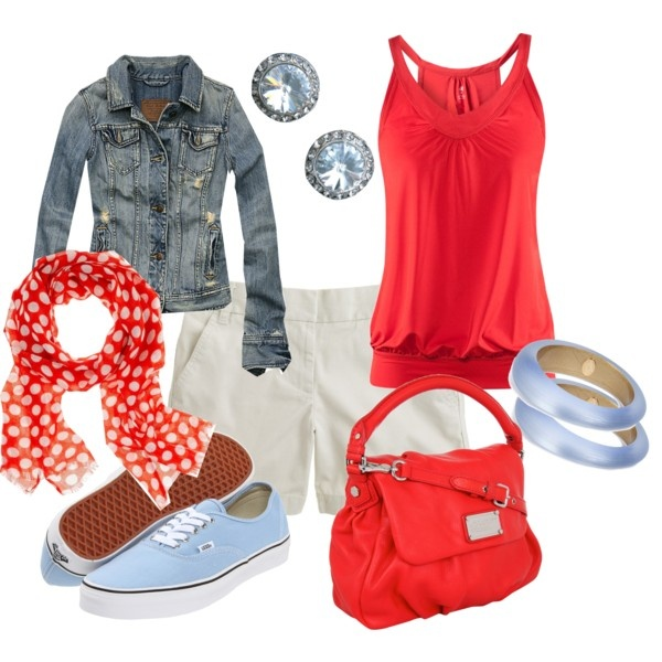Red & Light Blue: Fashion Ideas, Summer Outfit, Jeans Jackets, Style, Clothing, Fall Outfit, Red Blue, Lights Blue, Dreams Closets