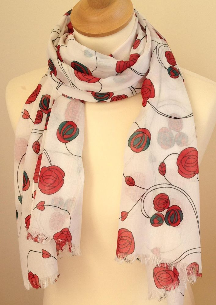 Scarf fabric - 100% cotton. Scarf print -roses. Repeat design of red roses on white background. Be sure to add me to yourfavourites list ! | eBay!