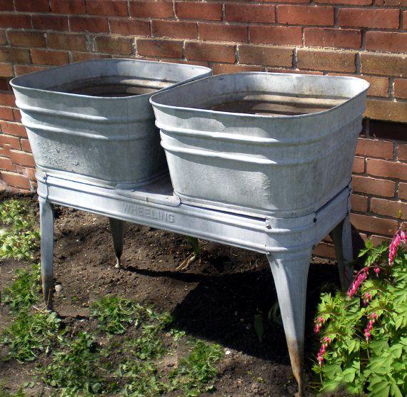 Rare Wheeling Galvanized Wash Tubs Double Two Garden