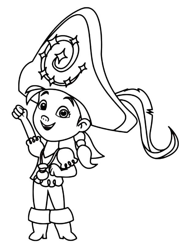 Izzy Wearing A Big Captain Hat Coloring Page : Kids Play