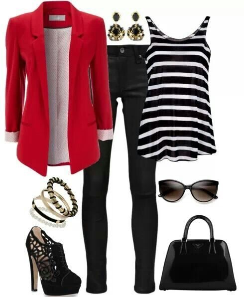love the black and white with the red blazer