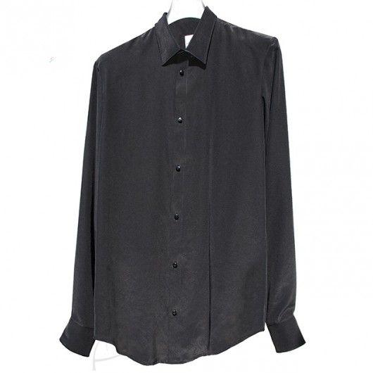 Czarna koszula jedwabna. Do zamówienia w dowolnym rozmiarze i kolorze w butiku latkafashion.com