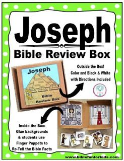 Joseph Preschool Ideas and Printable Projects. This includes a Review Box with finger puppets for the students to retell you the facts from the Joseph lesson. Color and Black & white.