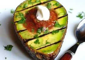 Grilled avocados: Cut an avocado in half, sprinkle with olive oil and lime juice, and place face down on the grill for five minutes. Then fill with salsa and NF sour cream, and sprinkle on a little more lime juice. Enjoy!
