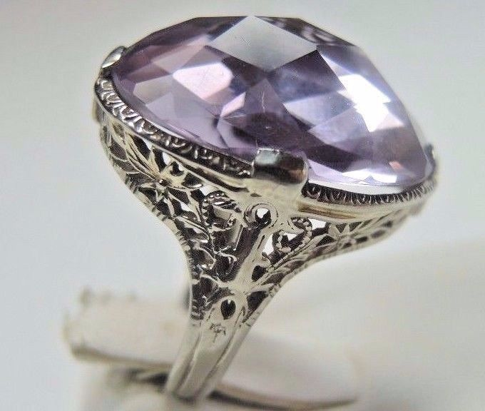 Antique Vintage Amethyst Engagement Ring 14K White Gold Ring Size 8.5 UK-Q1/2 #Handmade #SolitairewithAccents