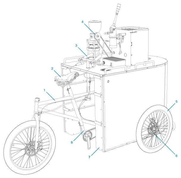 Velo presso human powered coffee cart design for Coffee cart design