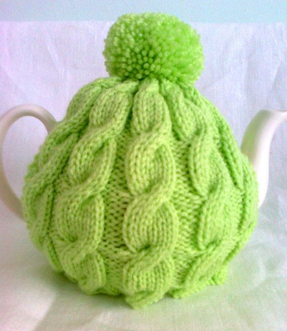 Vintage Tea Cosy Knitting Patterns Free : Knitted tea cosy lime cable cosies and colour