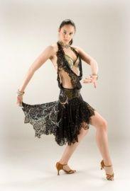 Zwarte Latin jurk   TE KOOP AANGEBODEN! wedstrijdkleding dames   DeJo`s Danceworld