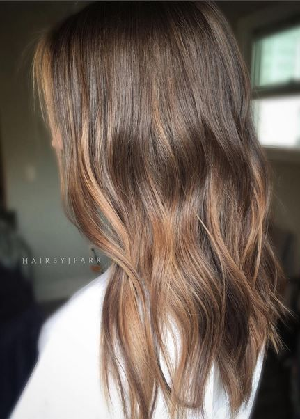 Dark wood brunette with hints of lighter warmth. Color by Jamie Park.