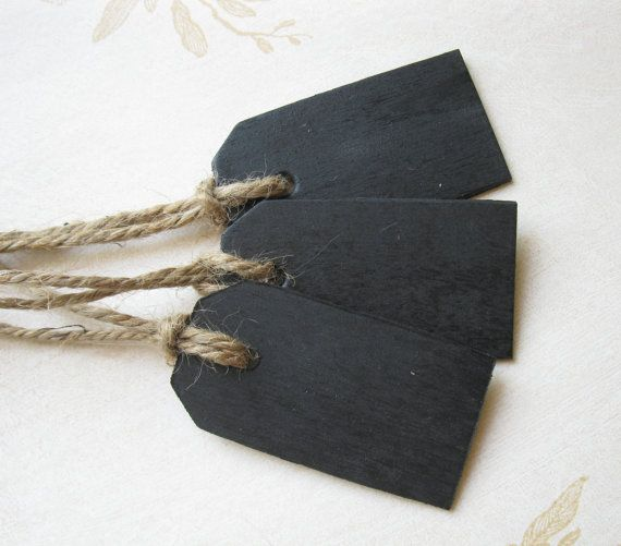 Small Wood Chalkboard Tags -- Set of 25 -- Wedding Favor, Place Cards, Name Cards, Gift Tags via Etsy