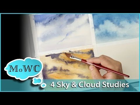4 Sky and Cloud Landscape Studies in Watercolor - YouTube