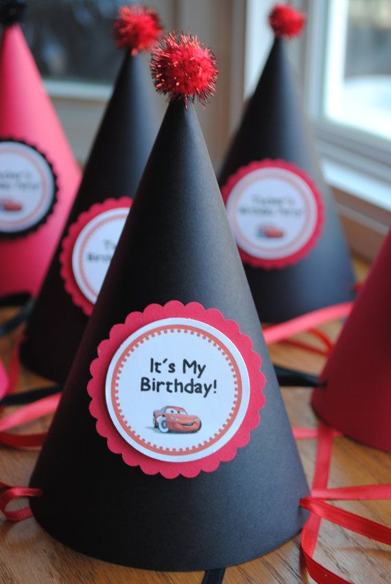 NEW  Disney Cars Lightning Mcqueen Party Hats by mlf465 on Etsy, $20.00