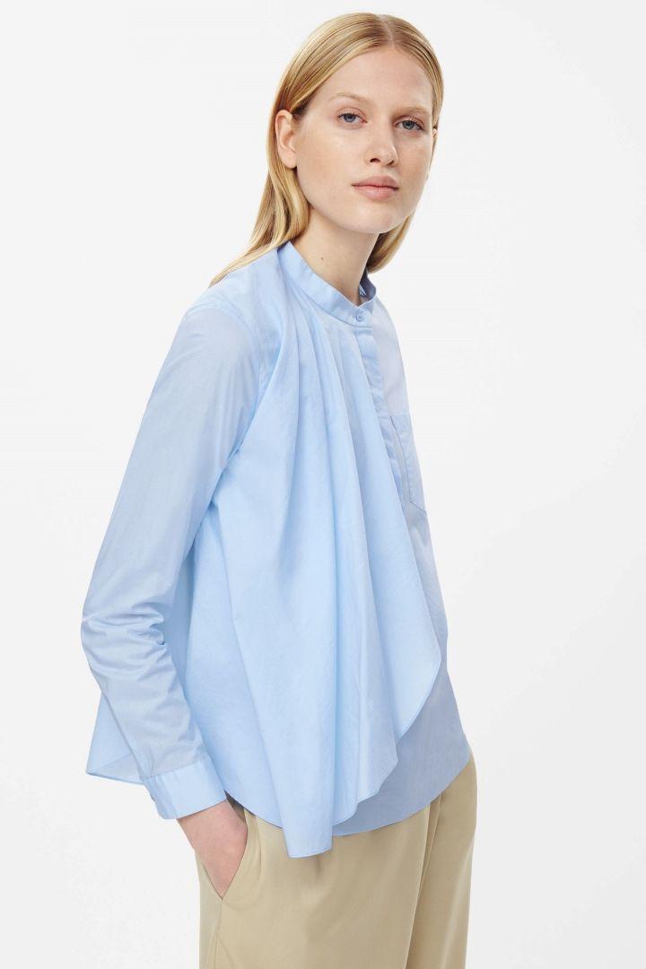 Grandad collar drape shirt