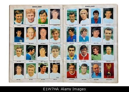 Full England World cup squad for Mexico 1970. Football soccer player card collection Stock Photo