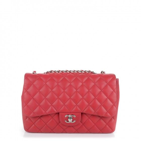 This is an authentic CHANEL Lambskin Quilted Jumbo Single Flap in Red. This is a stylish and popular classic Chanel shoulder bag with all of the hallmarks and quality of a great Chanel handbag.