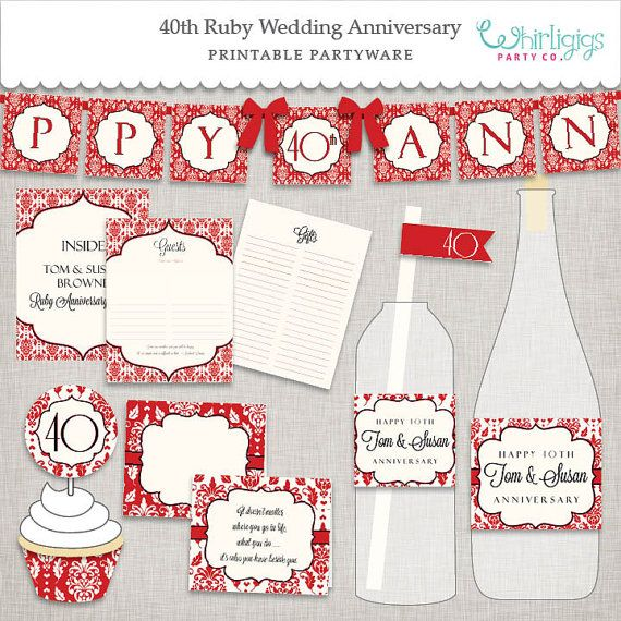 #40th #Ruby-Anniversary #printable-Party : A Ruby and Ivory print-it-yourself collection. Customized too!