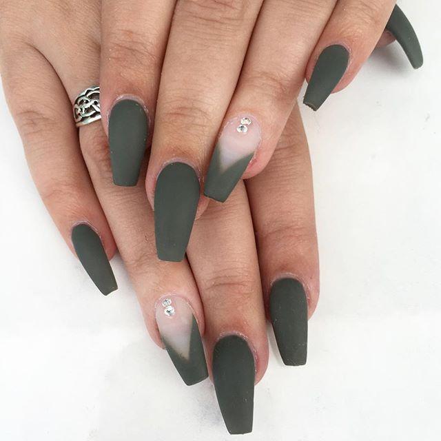 Matte Green.  • • • #nailie #nelfie #mattenails #crystalpixie #pinknails #shellac #swarovskinails #dailycharme #nailswag #nailinspo #nails2inspire #newwest #vancouvernails #604 #yvr