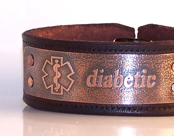 Diabetic bracelet, medical bracelet - mens leather cuff, diabetic alert