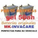 Par de baterías de gel INVACARE MK 50Ah originales