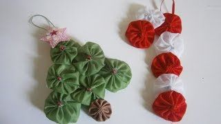 How to make Christmas Yo-Yo ornament - Christmas diy