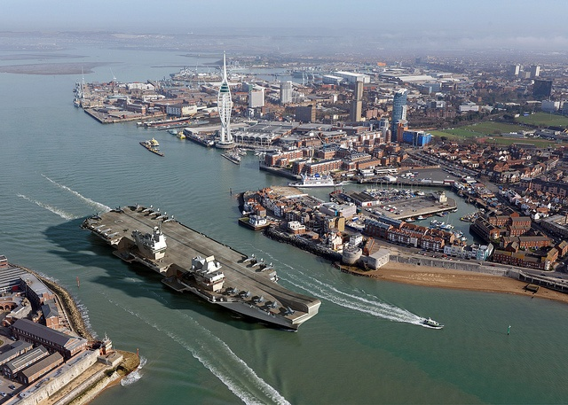 Queen Elizabeth Class at home in Portsmouth #HMS #CGI #Aircraft #Carrier #RoyalNavy