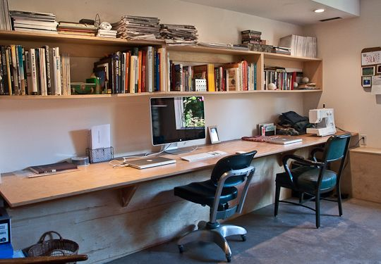one very long desk for two desks apartments and apartment therapy - Wall Desk Ideas