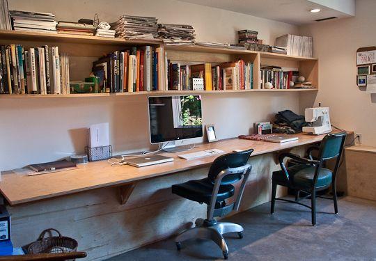one very long desk for two floating desk desks and wall. Black Bedroom Furniture Sets. Home Design Ideas