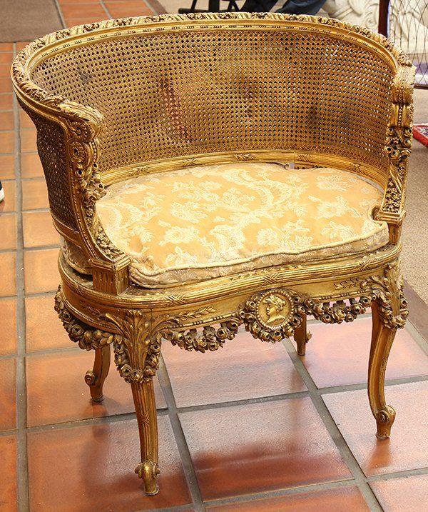 Louis XVI style giltwood salon chair : Lot 6513