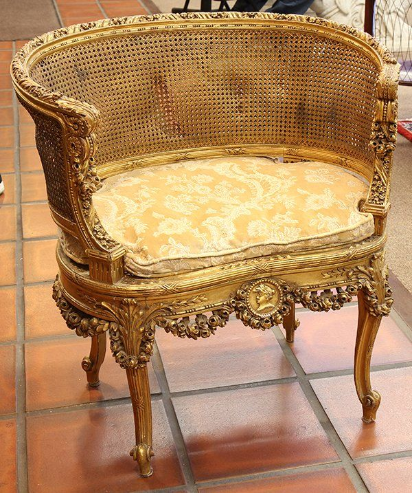 Louis XVI style giltwood salon chair : Lot 6513