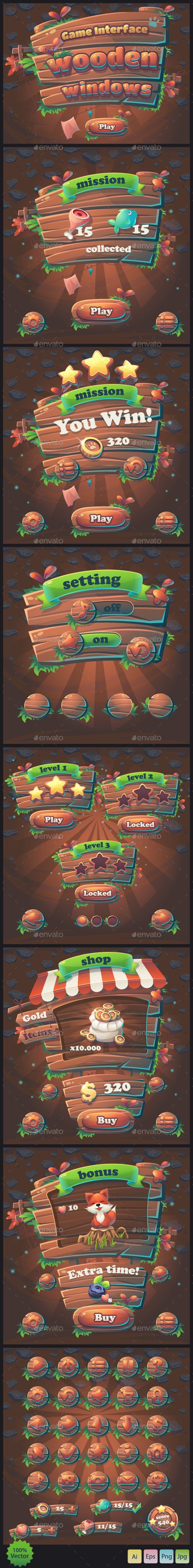 Wooden Windows User Interface - User Interfaces Game Assets