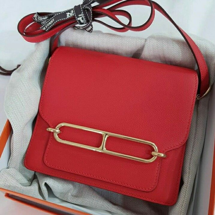 bbb1b9f1eb47 Model  Hermes Roulis mini Condition  Almost New Stamp  X Color  Rouge Tomate