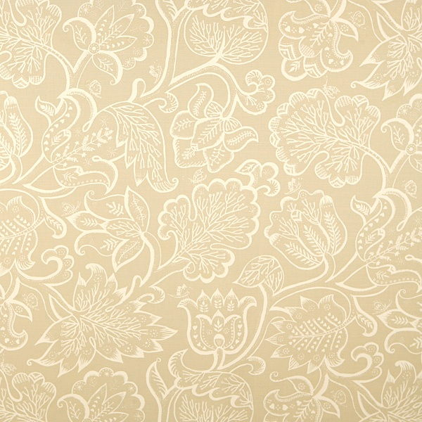 Jacobean Ivory on Beige Linen | Celia Birtwell